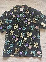 Worthington women's size PM petite medium black floral blouse top shirt
