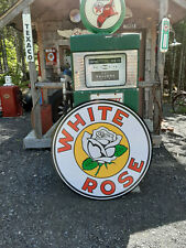 CLASSIC  37 INCH WHITE ROSE  GAS  SIGN