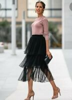 ZARA SOLD OUT PLUMETIS SWISS DOT TULLE BLACK SKIRT SIZE S REF: 2731/266