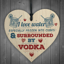 I Love Vodka Shabby Chic Hanging Wood Sign Friendship Home Gift Alcohol Pub Bar