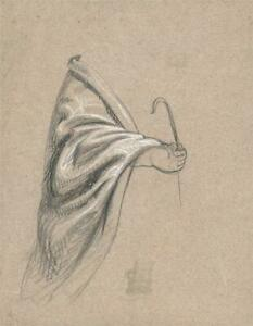 ELMA MARY GOVE (1832-1921) - Antique Drawing HAND STUDY - AMERICAN ARTIST