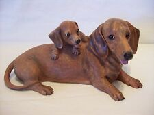 """Danbury Mint """"Mommy & Me"""" Red Dachshund Hand-Painted Sculpture, 12"""" L X 5.5"""" T"""