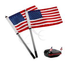 2 Pcs Flag Poles US Flags Kit For Harley Road King Street Glide 2014-17