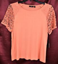 APT. 9 Crew Neck Crochet Lace Short Sleeve Knit Top Shirt Coral Pink Bust 40 PXL