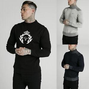 Sik Silk Mens Hign Neck Designer Retro Rib Knitted Turtle Neck Jumper Sweater