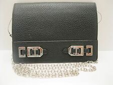 Purse Nine West Black Leather Gleam Team Crossbody Clutch Flat Flap NWT L458