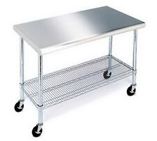 Rolling Stainless Steel Top Work Table NSF Metal Kitchen 49