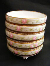 Vintage Set of 5 Condiment Finger Bowls MZ Co Austria Handpainted Pink Roses