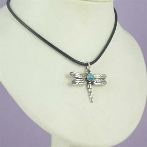 Dragonfly Pendant W Gemstone Solid 0.925 Sterling Silver Leather Cord Necklace