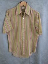 VTG 60's Ohrbach's Textured Striped Shirt Size 14.5 Small ~ Mod