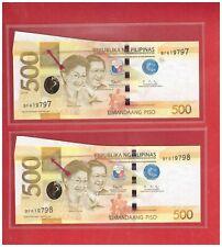 "2020 PHILIPPINES 500 Peso NGC Duterte, Diokno Error - "" FIN "" BF619797 & 98 UNC"
