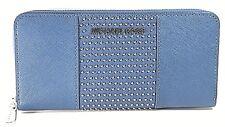 Michael Kors Zip Around Continental Micro Stud Wallet (Steel Blue)