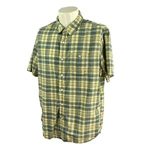 LL Bean Men's Slightly Fitted Short Sleeve Madras Yellow Green Plaid Shirt Large