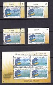 Bahamas 2006 Europa, Ship, Flag; Complete Set and S/S, Sc. 1150-1153a, Mint NH