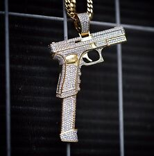 Large 14k Gold Plated Hand Gun Pistol Pendant With 30 Inch Franco Chain Necklace