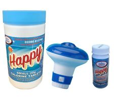 50 Chlorine Tablets 20g + 50 Happy Test Strips + Dispenser Swimming Pool Hot Tub
