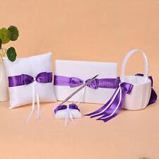 White&Purple Bowknot Wedding Guest Book Pen Holder Ring Pillow Basket Set N11