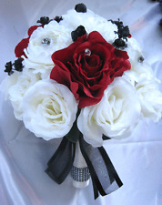 Wedding Bouquet Bridal Silk flowers CREAM  IVORY APPLE RED BLACK 17 pcs package
