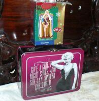 Set Of 2 Marilyn Monroe Tin Metal Lunch Box & Heirloom Tree Ornament Norma Jean