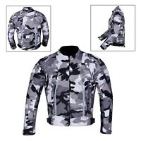 Men's Motorcycle Motorbike Jacket Waterproof Textile With CE Armoured Grey Camo