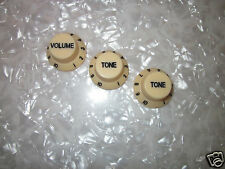 Guitar Knob Control Set Cream w/Bk#s Fits Fender Stratocaster Free shipping USA!