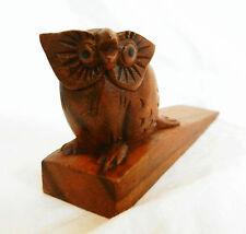 Hand Carved Wooden OWL Wedge Doorstop / Door Stop - BNWT