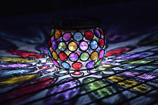 Solar Powered Light Jar Garden Lantern Powerful LED 6 Hour Charge Multi Glow Gem