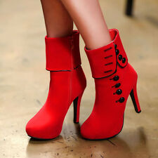 Womens Ladies Winter Suede boots Ankle High heel Martin boots Side Zip Shoes