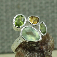 925 STERLING SILVER JEWELRY NATURAL PERIDOT CITRINE GIFT RING SIZE 6.75 KR1030
