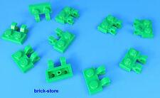 LEGO 1x2 piastra verticale/orizzontale con clip verde / 10-pc