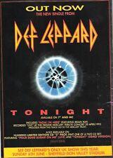 "DEF LEPPARD Tonight UK magazine ADVERT / mini Poster 11 x 8"""