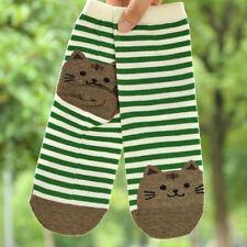 Short Striped Fashion Socks Women Sweet Animal Cartoon Cute Cat Design Cotton