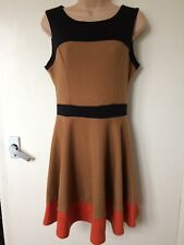 Miss Selfridge Skater Dress - Brown, Black & Orange - Size 10