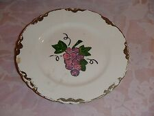 Vintage Collectible Plate, Grape Design in Center, Gold Design Around Edge