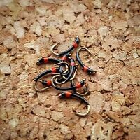 Red Hot-Spot Black Buzzers size 10 (Set of 3) Fly Fishing Flies