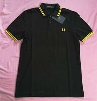 Fred Perry Men's Black New Yellow Twin Tipped Polo Shirt Size XS New With Tags