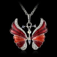 Retro Butterfly Crystal Rhinestone Pendant Necklace Long Chain Women Hot Jewelry