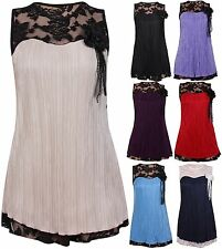 Womens Sleeveless Ladies Floral Lace Flower Brooch Blouse Crinkle Top Plus Size
