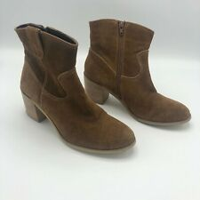 Steve Madden Womens Heeled Ankle Boots Size 9 Tan Leather Dover Bootie Shoes