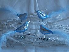 Christbaumschmuck Lauscha Glasvogel eisblau mit Feder 4Stück