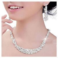 Silver Bridal Set Bridesmaid Jewelry Rhinestone Crystal Necklace Earrings Set