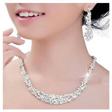 Women Bridal Wedding Party Prom Crystal Rhinestone Necklace Earrings Jewelry Set