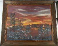 ORIG Oil Painting On Canvas Board SAN FRANCISCO Signed VI Luebbe Ola Frame 24x30