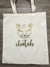 Gold Cheetah-smart cotton tote bag-shopping-work-office -play 100% Cotton,