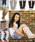 Warm Kids Girls Trendy Knitted Button Lace Leg Warmers Trim Boot Cuffs Socks
