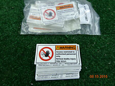 """Clarion Adhesive WARNING access restricted sticker label 4"""" x 2"""" LOT 50  A61"""