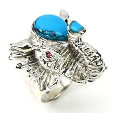 Turquoise Ring and rubies . Silver 925 . d-shaped'Elephant