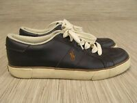 Polo Ralph Lauren Brown Cream Leather Sneakers Men's Size US 10 D Logo On Side