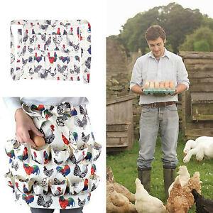 Egg Collecting Apron Pockets Chicken Farmhouse Waterproof Apron 12 Deep Pockets