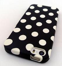 BLACK WHITE POLKA DOTS HARD GEL SKIN COVER CASE APPLE IPHONE SE AND 5 5S
